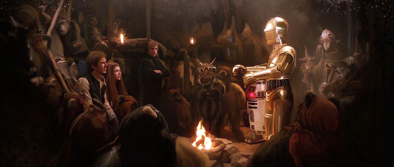 C3PO avec les ewoks fan-art artwork