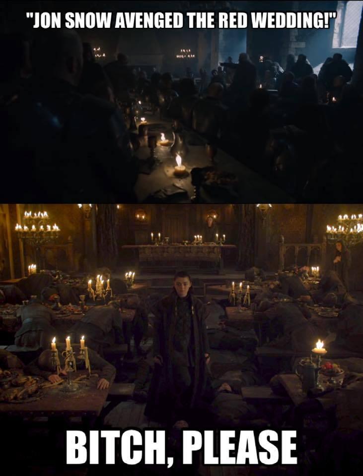 Jon Snow Arya Stark avenged the red wedding