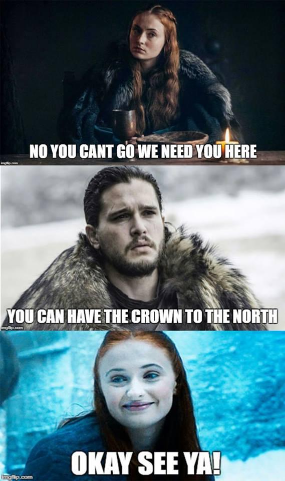 Game of thrones season 7 meme jon snow sansa stark