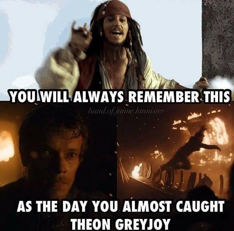 jack sparrow theon greyjoy meme