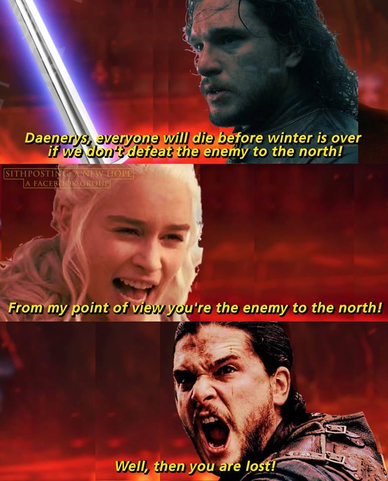 Daenerys Jon Snow Game of Thrones Star Wars meme