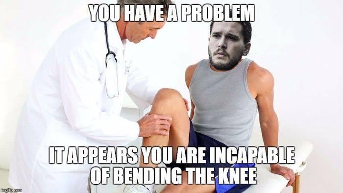 Jon snow bends the knee meme
