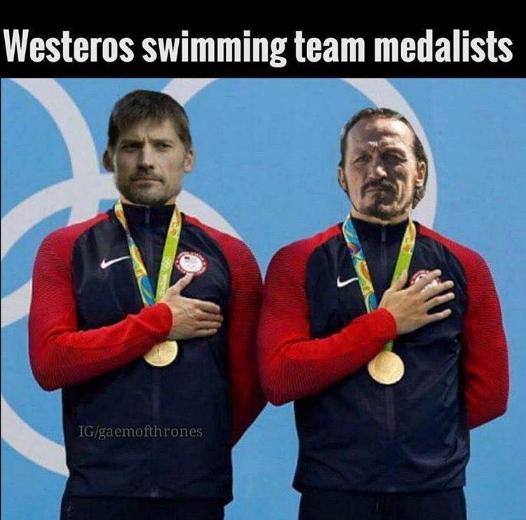 Westeros swimming team medalists Jaime Bronn meme