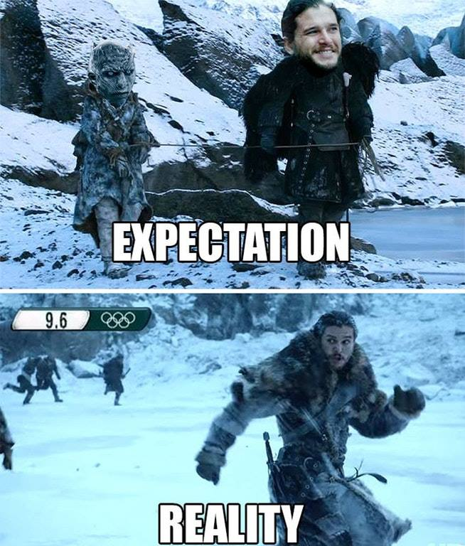 Jon Snow Expectation Reality meme