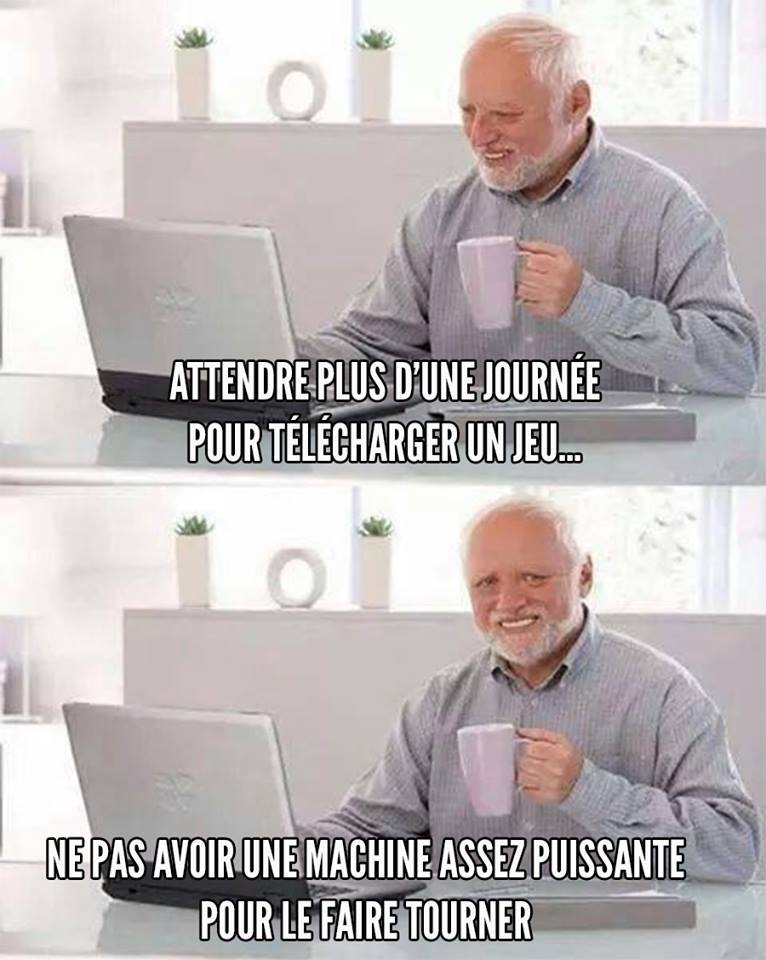 Humour télécharger un jeu puissance PC ordinateur meme