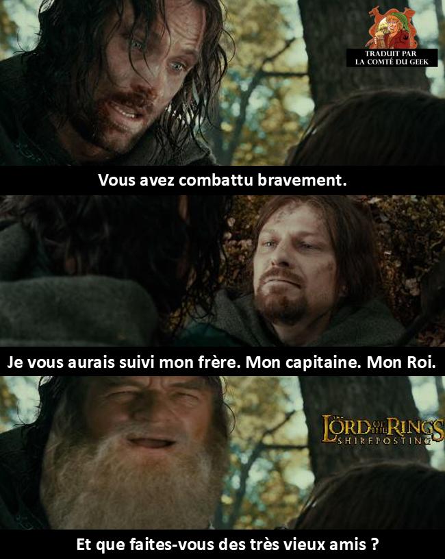 aragorn boromir gandalf le seigneur des anneaux meme humour que faites-vous des très vieux amis