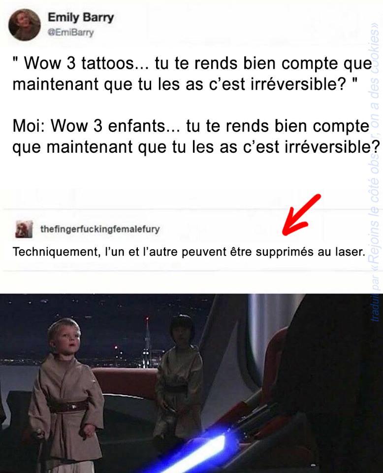 star wars humour noir padawans laser tatoo