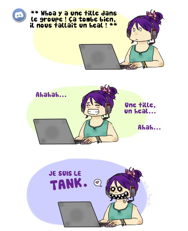 fille gamer heal tank mila
