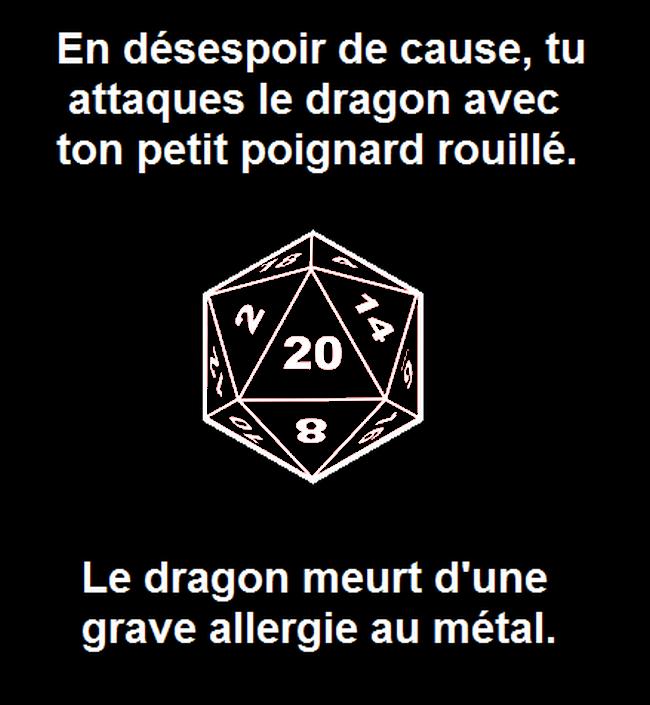 Jeux de rôle meme 20 dragon poignard