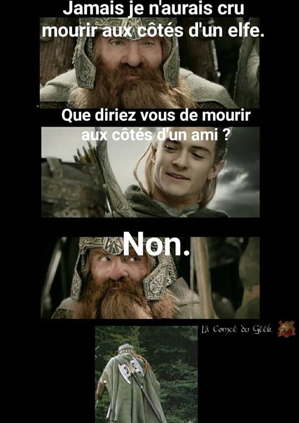 Le Seigneur des Anneaux clash Gimli vs Legolas