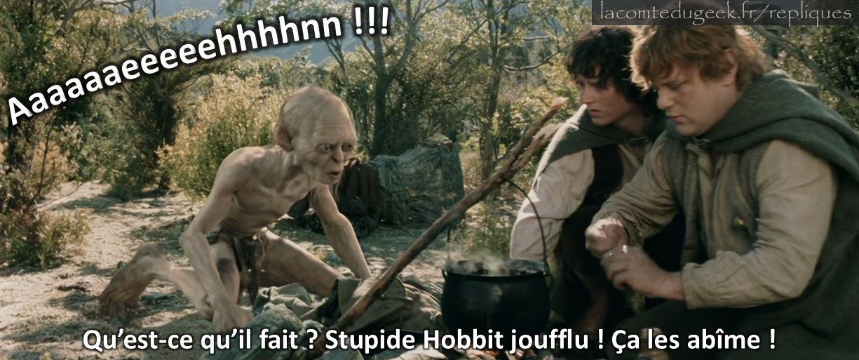 le seigneur des anneaux gollum stupide hobbit joufflu sam