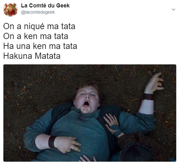 Game of thrones meme Hodor Hakuna Matata Le Roi Lion