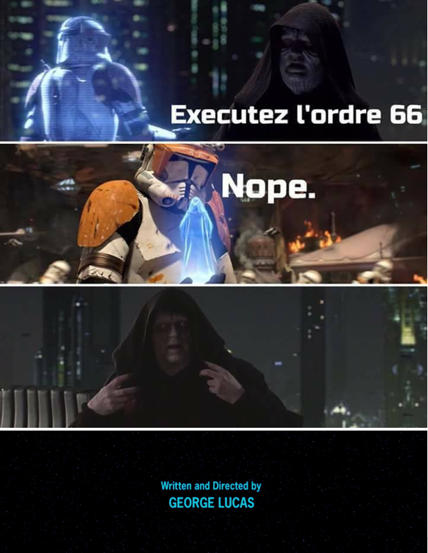 Star Wars meme fin alternative l'ordre 66 palpatine