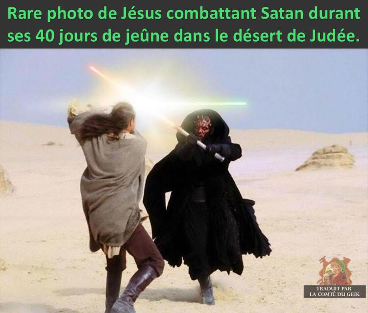 Star Wars meme Qui-Gon Jésus Dark Maul Satan