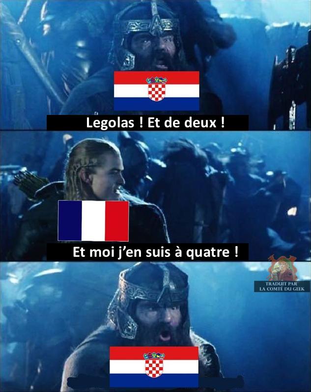Finale football france croatie le seigneur des anneaux humour legolas gimli