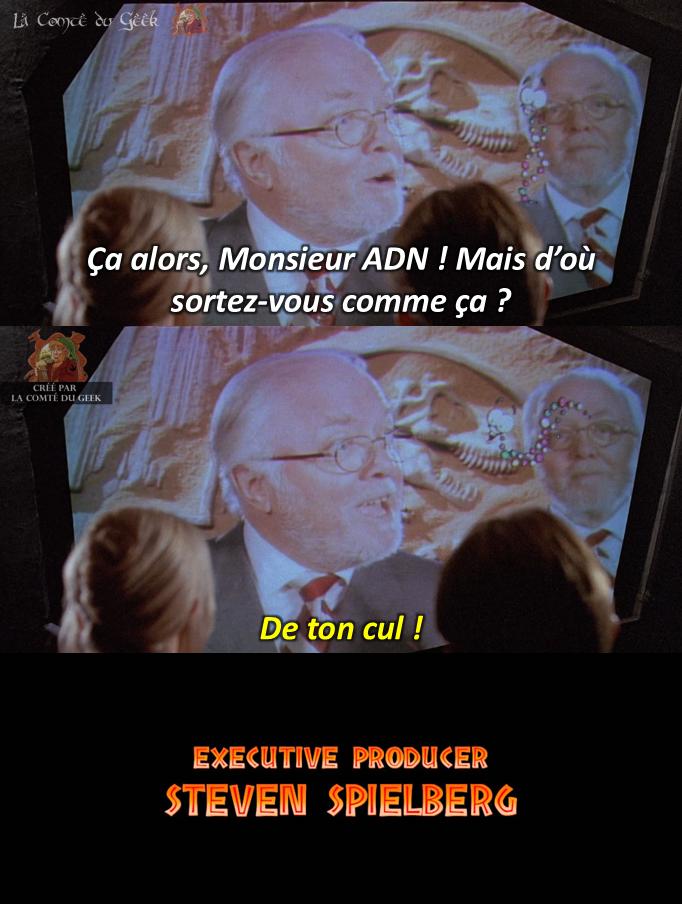 Jurassic Park fin alternative John Hammond Monsieur ADN humour