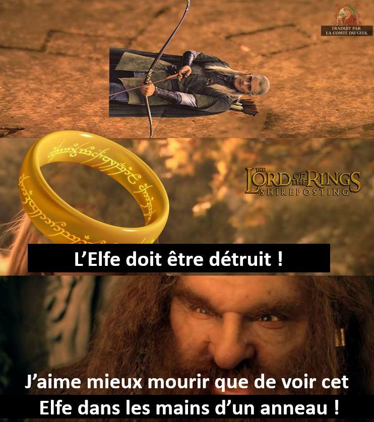 le seigneur des anneaux humour gimli anneau elfe