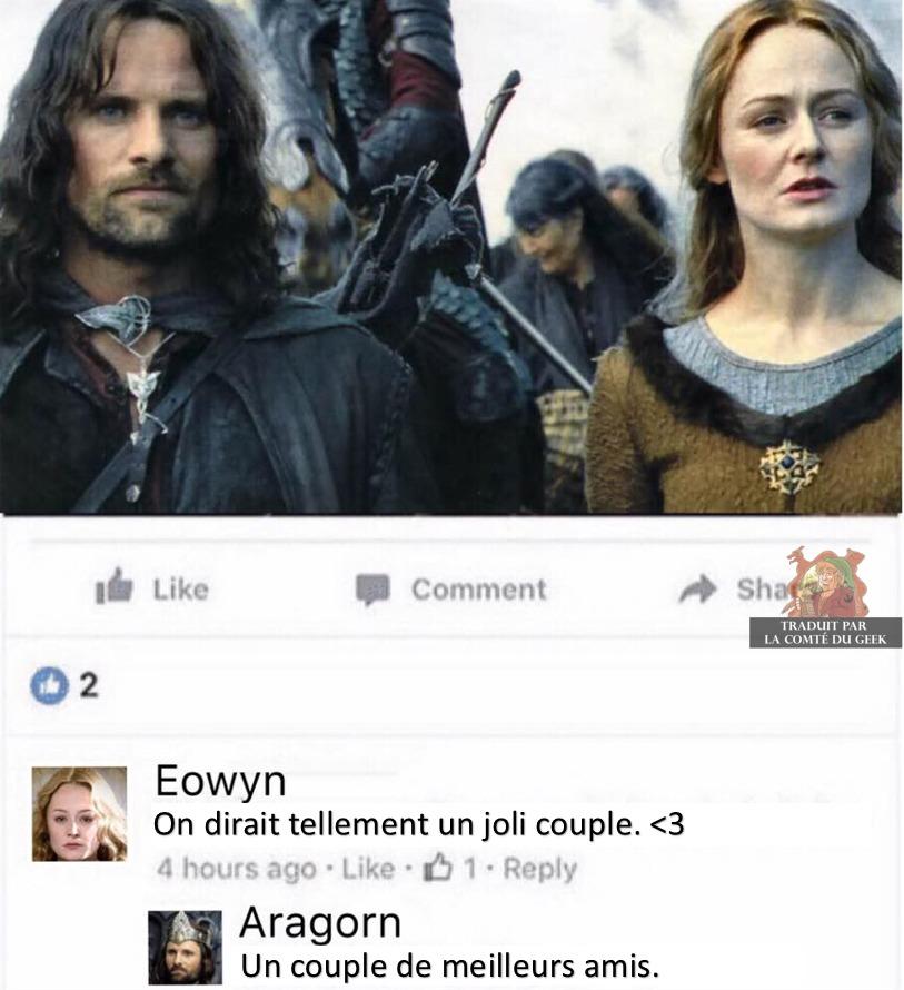 Aragorn Eowyn couple de meilleurs amis